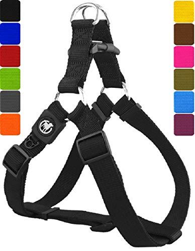 DDOXX Hundegeschirr Step-In Nylon in vielen Farben & Größen für kleine, mittelgroße & große Hunde | Geschirr Hund klein groß verstellbar | Brustgeschirr Welpen Auto | Schwarz, XXS - Welpen Geschirre