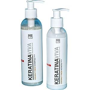 Kit Champu más Mascarilla reparación capilar keratina antifrizz antiencrespamiento ideal para cabellos dañados o castigados