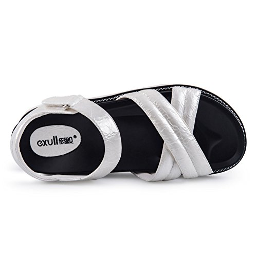 Summer,Plat,Sandales à Talon Moyens/Lady,Velcro,Sandales à Plateforme B