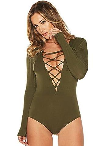 XJoel Women's Lace Up Bandage Tight Bodysuit Jumpsuit