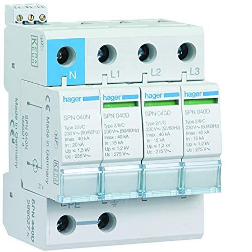Hager spn440d Limiter Überspannungsschutz 3-polig + neutral-40kA 440V 60Hz
