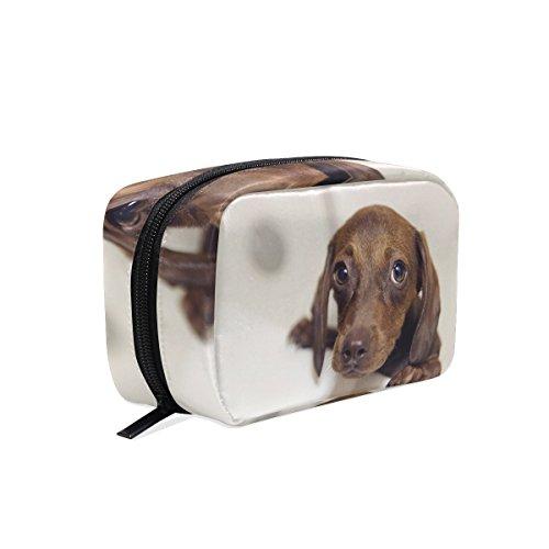 tizorax Puppy Hund Dackel Praktische Kosmetik Tasche Kupplung Make-up-Tasche Organizer Reisetasche
