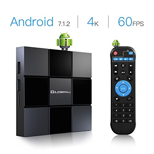 Globmall 2018 Neue TV-Box Android 7.1 X3 2 GB RAM 8 GB ROM Quad-Core-CPU Penta-Core GPU HDMI 2.0 4K H.265 WiFi Box Smart TV (Android Quad-core-tv-box)