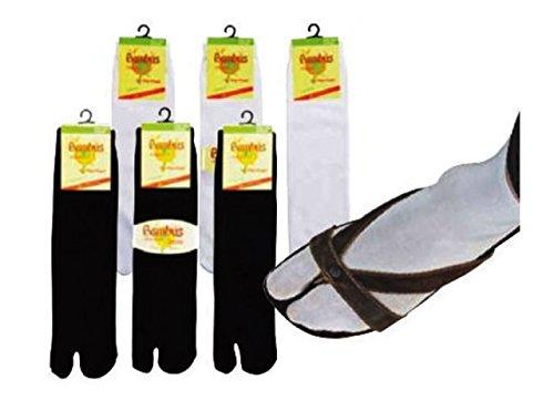 3 Paar Sandalen-Socken auch als ,,Tabi-Socks oder ,,Samurei-Socks'' bekannt für Damen und Herren, CH-153 (One Size, Weiß)