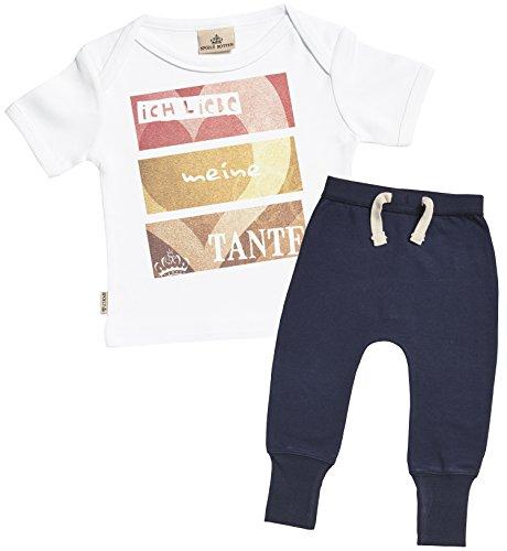 SR - Ich liebe meine Tante Bekleidungssets - Baby Geschenkset - Weiß Baby T-Shirt & Marineblau Baby Jogginghosen - Babyoutfit - 6-12 Monate