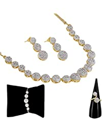 Zeneme American Diamond Party Wear Traditional Stylish Fashion Jewellerry Combo of Necklace Pendant Set/Ring/Bracelet with Earring for Women/Girls