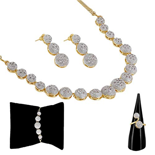 Zeneme American Diamond Party Wear Traditional Stylish Fashion Jewellerry Combo of Necklace Pendant Set/Ring /Bracelet with Earring for Women/Girls