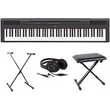 Yamaha Full Pack P115- Piano digital, color negro, portátil