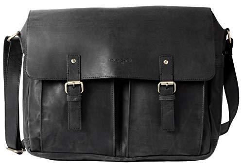 HOLZRICHTER Berlin Umhängetasche (M) - Premium Lehrertasche aus Leder - Vintage Ledertasche für Herren und Damen Groß - schwarz