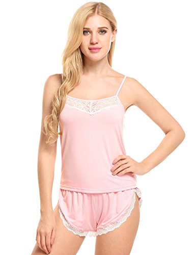 Ekouaer Damen Schlafanzug Zweiteiliger Viskose verstellbare Träger Schlafanzug Cami Set Lace Trimmed Striped Top und Elastische Taille Shorts Pyjamas Nachtwäsche (Top Striped Lace)