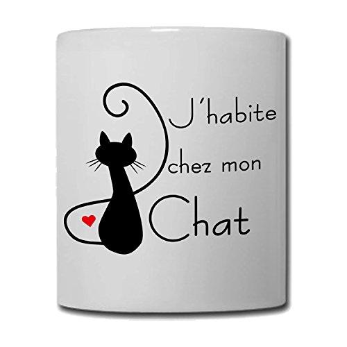 Yonacrea - Mug Tasse - J'habite chez mon Chat