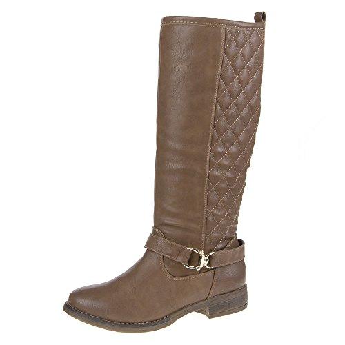 Damen Schuhe, 820-PG, STIEFEL Brown - Braun Grau