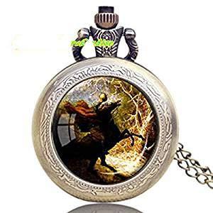 adless Horseman Anhänger Uhr Halloween Halskette Pferdeliebhaber Geschenk Uhr ()