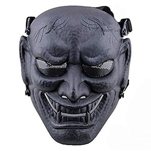 Of Schwarz Kostüm Steel Mann - WLXW Outdoor Japanische Samurai Metal Mesh Vollgesichtsschutz Air Gun Maske - Steel Mesh Brille - Halloween Cosplay Buddhistische Prajna Maske,Schwarz