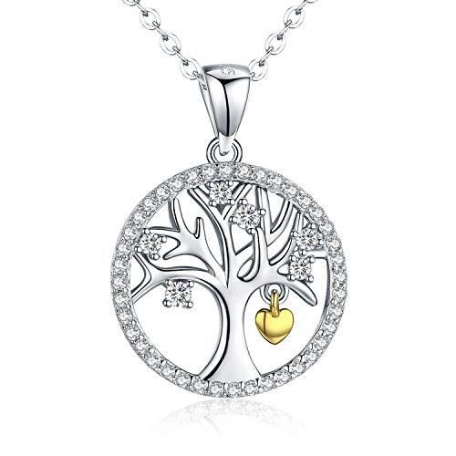 925 Sterling Silber Kette Damen,Halsketten für Frauen Lebensbaum Anhänger Baum Des Lebens Geschenk für Mutter,Mama,Mädchen 45+6 cm -