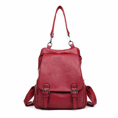 Frau Neuer Stil Mode PU   Rucksack Mehrzweck- Einzel-Umhängetasche Große Kapazität Tasche,Red-OneSize