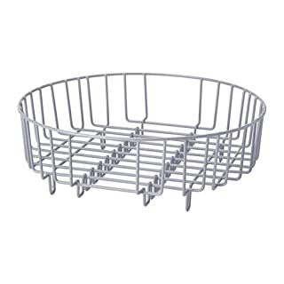 Andric Heavy Duty Steel 37cm Dia Round 2 in 1 Dish Drainer/Rinsing Basket - (Fit all most all Domestic & Commercial Sinks) (Chrome)