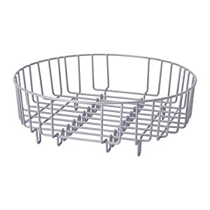 Heavy Duty Stainless Steel 37cm Dia Round 2 in 1 Dish Drainer / Rinsing Basket (Fit all most all Round / Rectangular Domestic & Commercial Sinks) (Silver)