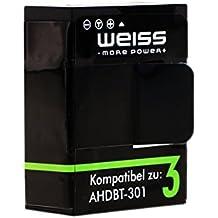 WEISS Akku für GoPro Hero 3 / GoPro Hero 3+ Black / White / Silver 1180mAh Hero3+ / Hero3 [ersetzt: AHDBT-302 / AHDBT-301] Li-Polymer