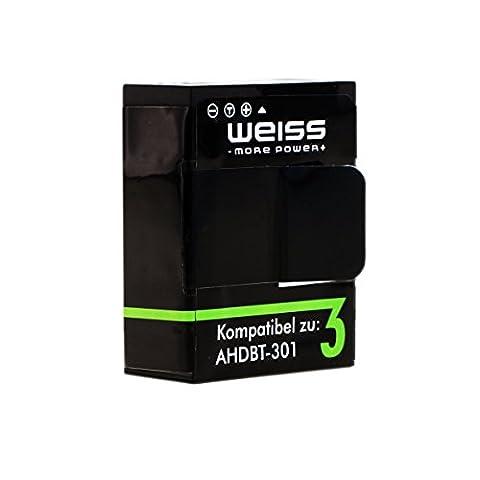 WEISS Akku für GoPro Hero 3 / GoPro Hero 3+ Black / White / Silver 1180mAh Hero3+ / Hero3 [ersetzt: AHDBT-302 / AHDBT-301 /AHDBT-201]