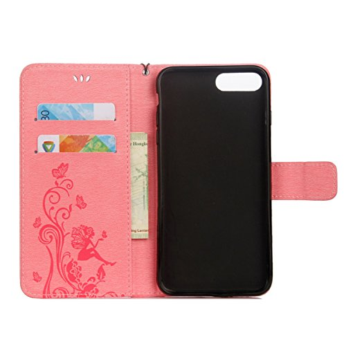 Custodia iPhone 7 Plus, ISAKEN Custodia iPhone 7 Plus, iPhone 7 Plus Flip Cover con Strap, Elegante borsa Albero Design in Sintetica Ecopelle Sbalzato PU Pelle Protettiva Portafoglio Case Cover per Ap Fata ragazza: rosa