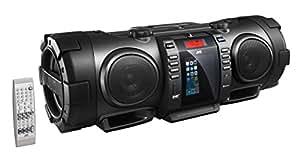 JVC BoomBlaster RV-NB100BE tragbare CD-System (FM/DAB+ Tuner, CD-R/RW, 40 Watt, USB) mit geschlossenem Apple iPod-Dock schwarz: JVC