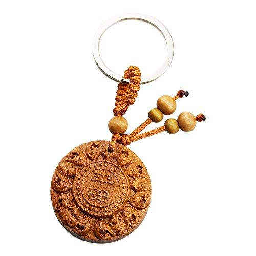 foy-mall Chinesische Zeichen Peace und fünf Segen Chinesische Jujube Holz Schlüsselanhänger M1238 -