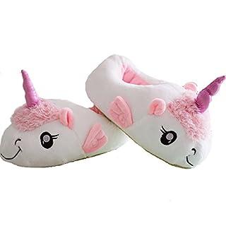 Aardvark Art Unicorn Einhorn Plüsch Hausschuhe Schuhe Erwachsene, Rosa Weiß, 36-41