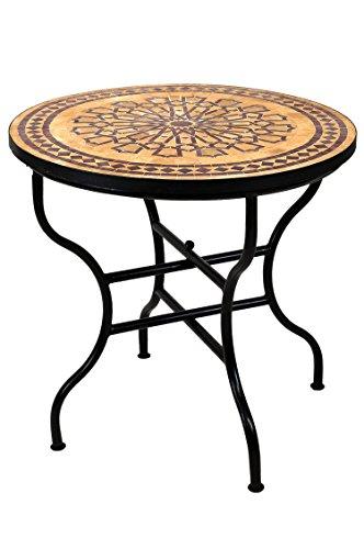 Runde Große Klapptisch (ORIGINAL Marokkanischer Mosaiktisch Gartentisch ø 80cm Groß rund klappbar   Runder klappbarer Mosaik Esstisch Mediterran   als Klapptisch für Balkon oder Garten   Alcazar Beige Bordeaux 80cm)