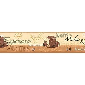 A.S. Création selbstklebende Bordüre Stick ups Küche Kaffee 5,00 m x 0,13 m beige braun creme Made in Germany 898517 8985-17