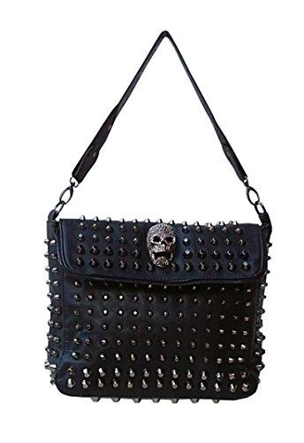 Roll-geldbeutel-handtasche (LUCYFIRE fashion Gothic Handtasche Mit Nieten Und Skull Double Flap)