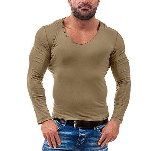 Xmiral Herren Tops Bluse Langarm O Hals Baumwollmischung Schlank Casual Knopf Sweatshirt (S,Khaki)
