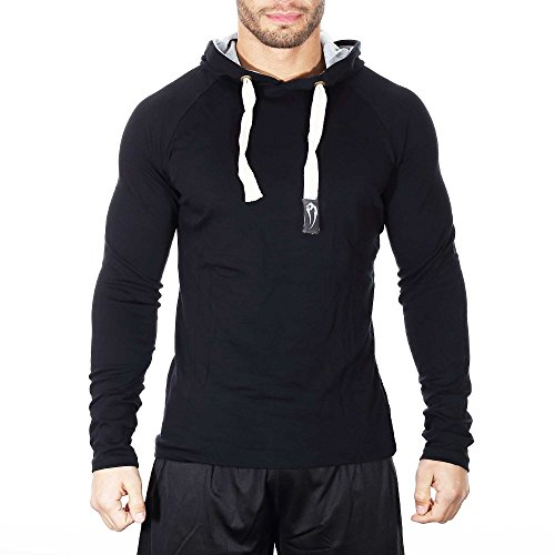 SMILODOX Slim Fit Kapuzenpullover Herren | Hoodie für Sport Fitness Gym Training & Freizeit | Sportpullover - Sweatshirt - Kapuzenpulli - Pulli - Hoody, Farbe:Schwarz, Größe:S -