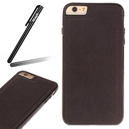 Pelle Custodia Cover per iPhone 6 plus iPhone 6S plus Case ,Ukayfe Ultra Slim Casa Custodia (back cover) rivestita in pelle pieno per iPhone 6 plus iPhone 6S plus,Protettiva Custodia Luxury Puro Color Marrone-nero 5#
