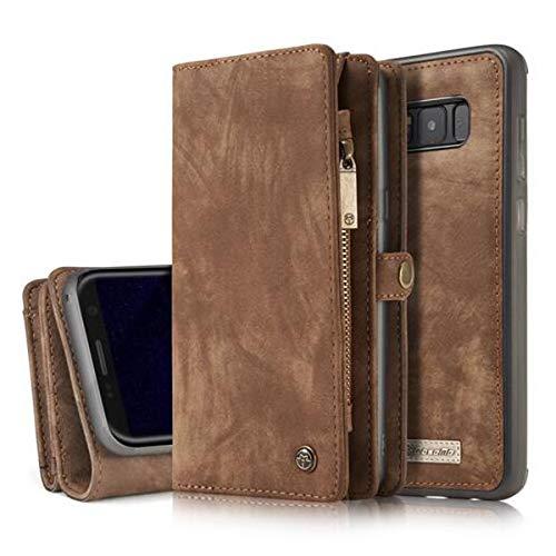 Samsung Galaxy S8 Plus/S8+ Leder Case Hülle mit Kartenfächer Geldschmühelosmit Reißverschluss Magnet Handy Schutzhülle, 4 Farben, Braun, Samsung Galaxy S8 Plus