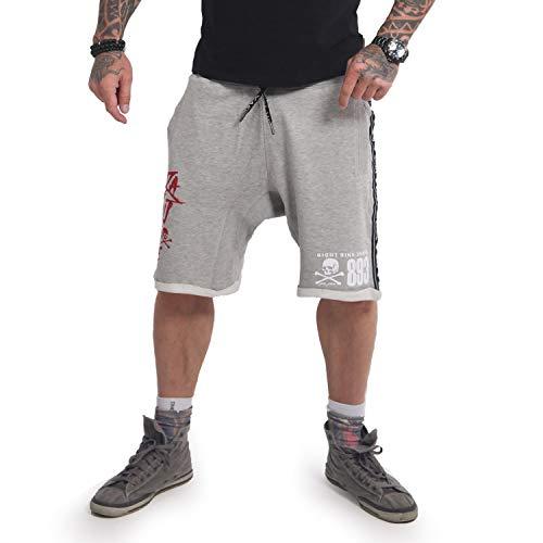 Yakuza Herren Track Tape Sweat Shorts, Hellgrau Meliert, XL