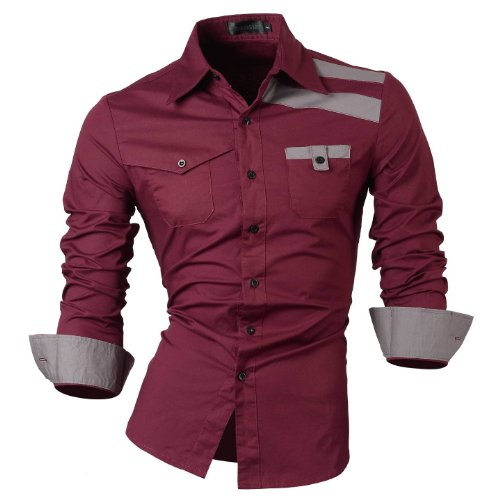 jeansian Homme Chemises Casual Shirt Tops Mode Men Slim Fit 8358 WineRed