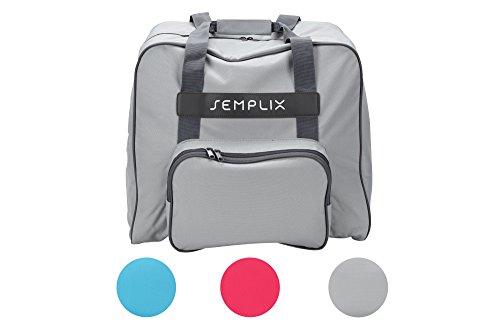 SEMPLIX Overlocktasche - Coverlocktasche, hellgrau, 44x38x33 cm | Große stabile Transport und Aufbewahrungs Tasche XL in vielen frischen Farben, für alle gängigen Overlock und Coverlock Maschinen