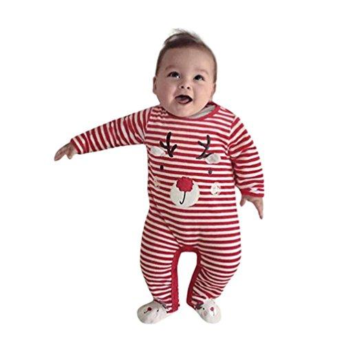 HKFV Neugeborene Kid Baby Deer Weihnachten Jungen Mädchen Outfits Kleidung Strampler Overall Baby Weihnachten Hirsch gestreiften gedruckten Langarm-Jeans 1 Stück Stückware (80, Rot)