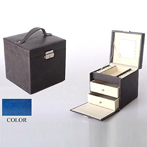 Joyero-cuadrado-con-asa-y-llave-azul-dos-cajones-16x16x16