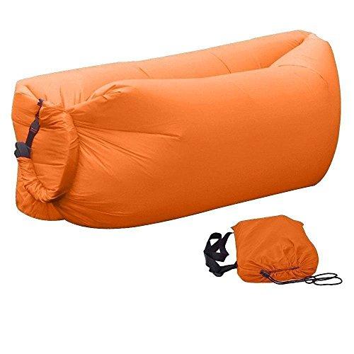 Aufblasbar Air Sofa Liege Luft Outdoor Luftsofa Bett Strand Schlafsack für 4 Erwachsene, Keine Luftpumpe Erforderlich, Faltend - Orange