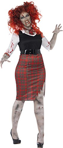 Smiffys, Damen Zombie-Schulmädchen Kostüm, Kleid, Krawatte und Gürtel, Größe: X3, (Zombie Schulmädchen)