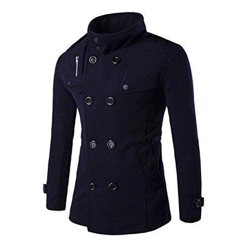 Cappotto Uomo, Reasoncool Uomini Autunno Inverno doppia fila tasto di collare di lana cappotto maglione camicetta superiore (XXL-Busto:44.1