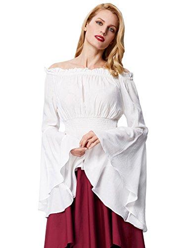 Viktorianische Leichte Langarm Smocked Taille Frauen Tops Elfenbein Größe L (Weiße Bluse Pirat)