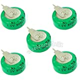AST Works 5 Pcs Ni-MH 80mAh 1.2V Button Rechargeable Battery Backup Power With Tab