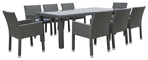 Maze Rattan mon-t-23105+ mon-c-15rechteckig 8Sitz Monaco Tief Esszimmer Set mit 213x 100cm Tisch in ein Gewebe–MIXED grau (Wetter Alle Dining Wicker)