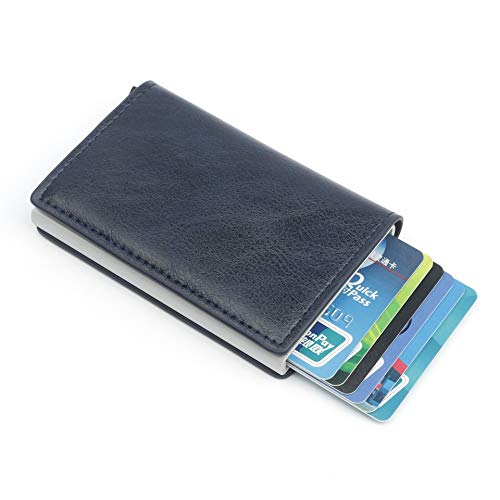 Fousamax RFID-Blocking Kreditkarten-Halter, RFID-Schutz, Kartenhülle vorne, Diebstahlschutz, Auto Pop-Up-Karten-Set für Männer und Frauen blau blau 1 (Kreditkarten-scan-schutz)