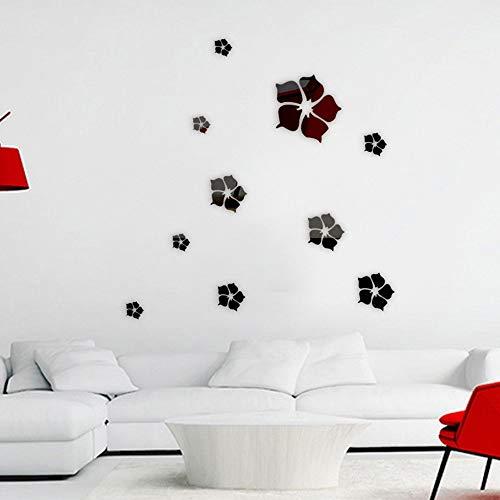 AFGD Wanddekoration Spiegelblumen, Wohnzimmer, Schlafzimmer, Hintergrund, Wanddekoration, Schwarz