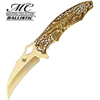 RKS Diffusion Couteau Pliant Karambit Gold Dragon Masters Collection Couteau de Poche Camping