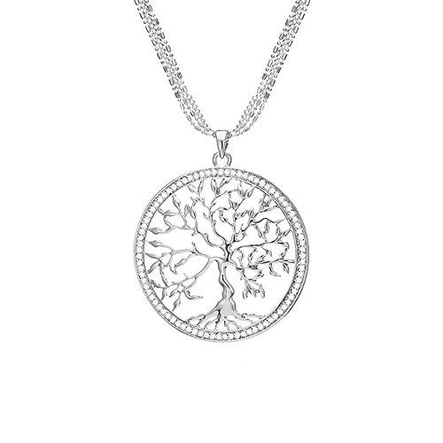 Mianova Damen Halskette Kette Lebensbaum Anhänger mit Swarovski Elements Strass Kristall Steinen Silber